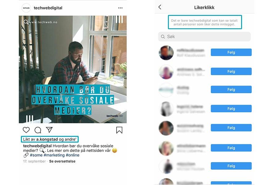 Instagram- endringer på andres profil