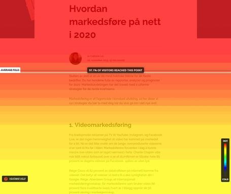 """Heatmap av """"Hvordan markedsføre på nett i 2020"""""""