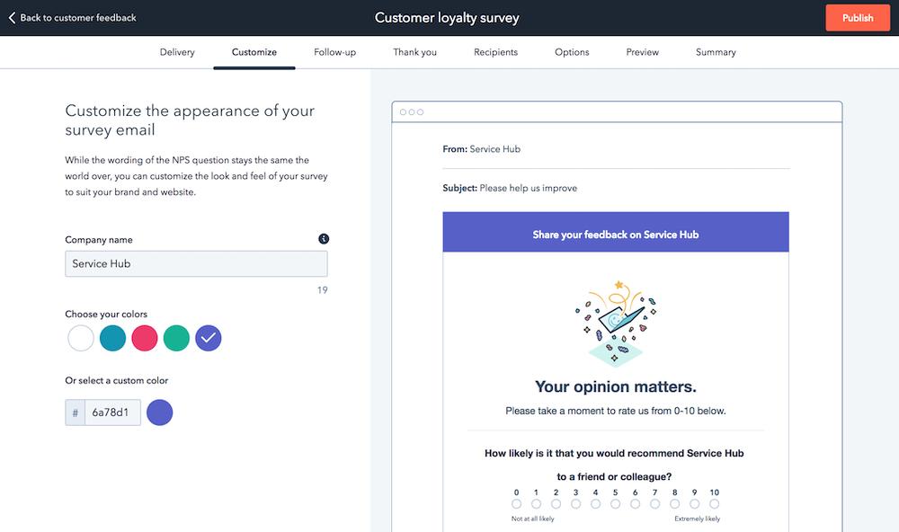 custom feedback surveys hubspot